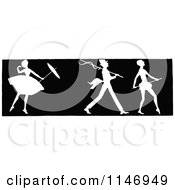 Clipart Of A Retro Vintage Silhouetted Border Of A Ballerina And Men Royalty Free Vector Illustration