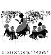 Clipart Of A Retro Vintage Silhoueted Teacher And Circle Of Students Royalty Free Vector Illustration