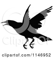 Clipart Of A Retro Vintage Silhouetted Crow Flying Royalty Free Vector Illustration