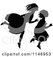 Clipart Of Retro Vintage Silhouetted Girls Running Royalty Free Vector Illustration by Prawny Vintage
