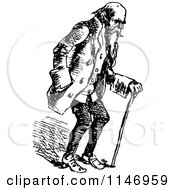 Clipart Of A Retro Vintage Black And White Old Man Using A Cane Royalty Free Vector Illustration