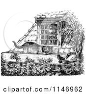 Clipart Of A Retro Vintage Black And White Man Looking Through A Window At A Cat And Bird Royalty Free Vector Illustration