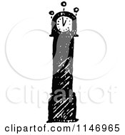 Clipart Of A Retro Vintage Black And White Grandfather Clock Royalty Free Vector Illustration