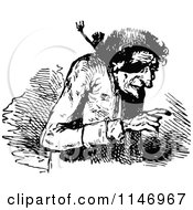 Clipart Of A Retro Vintage Black And White Old Man 2 Royalty Free Vector Illustration