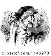 Clipart Of A Retro Vintage Black And White Old Man With An Eye Patch Royalty Free Vector Illustration