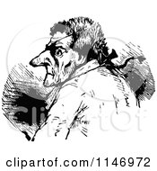 Clipart Of A Retro Vintage Black And White Old Man With An Eye Patch 2 Royalty Free Vector Illustration