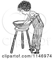 Clipart Of A Retro Vintage Black And White Boy Washing His Hands In A Bowl Royalty Free Vector Illustration by Prawny Vintage