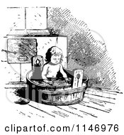 Clipart Of A Retro Vintage Black And White Child In A Tub Royalty Free Vector Illustration by Prawny Vintage