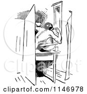 Clipart Of A Retro Vintage Black And White Man Flossing His Teeth In A Bathroom Royalty Free Vector Illustration by Prawny Vintage