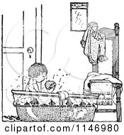 Clipart Of A Retro Vintage Black And White Boy Taking A Bath Royalty Free Vector Illustration by Prawny Vintage