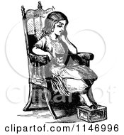 Clipart Of A Retro Vintage Black And White Pensive Girl And Cat In A Chair Royalty Free Vector Illustration by Prawny Vintage