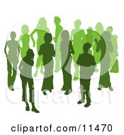 Two Women Chatting Among A Crowd Of Silhouetted Green People Clipart Illustration