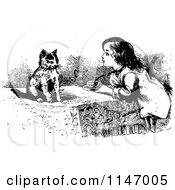 Clipart Of A Retro Vintage Black And White Girl And Kitten Having Tea Royalty Free Vector Illustration by Prawny Vintage