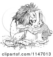Clipart Of A Retro Vintage Black And White Rabbit Patching Up A Lions Paw Royalty Free Vector Illustration