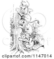 Clipart Of Retro Vintage Black And White Lions Making A Ladder Up A Tree Royalty Free Vector Illustration