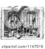 Clipart Of A Retro Vintage Black And White Caged Lion And Dog Royalty Free Vector Illustration