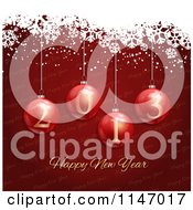 Clipart Of A Red Happy New Year Bauble And Snowflake Grunge Background Royalty Free Vector Illustration
