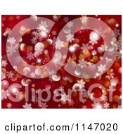 Clipart Of A Red Snowflake And Christmas Bokeh Light Background Royalty Free CGI Illustration