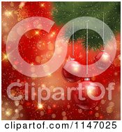 Clipart Of 3d Baubles Hanging From A Christmas Tree Over Gold Bokeh And Red Snowflakes Royalty Free Vector Illustration by KJ Pargeter