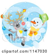 Cartoon Of A Happy Christmas Reindeer And Snowman Royalty Free Vector Clipart by Alex Bannykh