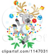Cartoon Of A Christmas Reindeer With Tree Decorations Royalty Free Vector Clipart by Alex Bannykh
