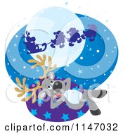 Cartoon Of A Christmas Reindeer Watching Santas Sleigh Fly By Royalty Free Vector Clipart by Alex Bannykh