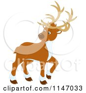 Cartoon Of A Christmas Reindeer Looking Back Royalty Free Vector Clipart