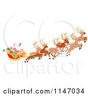 Cartoon Of Santa With Magic Christmas Reindeer Flying His Sleigh 1 Royalty Free Vector Clipart by Alex Bannykh