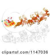Cartoon Of Colored And Outlined Scenes Of Santa With Magic Christmas Reindeer Flying His Sleigh 1 Royalty Free Vector Clipart