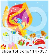 Cartoon Of Santa And Christmas Gifts Scattered Around A Crashed Sleigh Royalty Free Vector Clipart