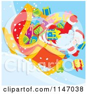Cartoon Of Santa And Christmas Gifts Tumbling Out Of A Sleigh Royalty Free Vector Clipart