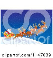 Cartoon Of Santa With Magic Christmas Reindeer Flying The Sleigh Royalty Free Clipart