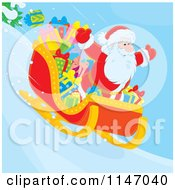 Cartoon Of Santa And Christmas Gifts In A Sleigh Royalty Free Vector Clipart