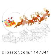 Cartoon Of Colored And Outlined Scenes Of Santa With Magic Christmas Reindeer Flying His Sleigh 2 Royalty Free Clipart