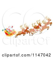 Cartoon Of Santa With Magic Christmas Reindeer Flying His Sleigh 2 Royalty Free Clipart