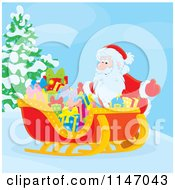 Cartoon Of Santa With Christmas Gifts In His Sleigh Royalty Free Vector Clipart