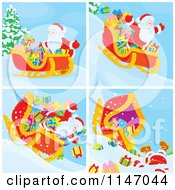 Cartoon Of Scenes Of Santa And Christmas With A Sleigh Royalty Free Vector Clipart