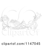 Cartoon Of An Outlined Santa Loading Christmas Gifts Into His Sleigh Royalty Free Vector Clipart