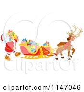 Cartoon Of Santa Loading Christmas Gifts Into His Sleigh Royalty Free Vector Clipart