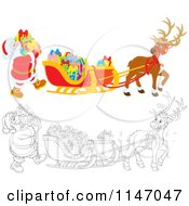 Cartoon Of Colored And Outline Scenes Of Santa Loading Christmas Gifts Into His Sleigh Royalty Free Vector Clipart