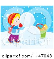 Cartoon Of A Happy Boy Making A Snowman 2 Royalty Free Vector Clipart by Alex Bannykh