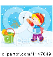 Cartoon Of A Happy Boy Making A Snowman 3 Royalty Free Vector Clipart