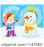 Cartoon Of A Happy Boy Making A Snowman 4 Royalty Free Vector Clipart by Alex Bannykh