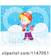 Cartoon Of A Happy Boy Making A Snowman 1 Royalty Free Vector Clipart