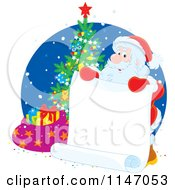 Cartoon Of Santa Lholding A List By A Christmas Tree Royalty Free Vector Clipart