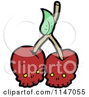Cartoon Of Red Skull Cherries Royalty Free Vector Clipart