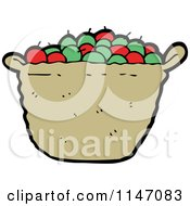 Cartoon Of A Basket Of Apples Royalty Free Vector Clipart by lineartestpilot