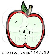 Cartoon Of A Halved Red Apple Royalty Free Vector Clipart