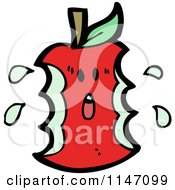 Cartoon Of A Scared Red Apple Core Mascot Royalty Free Vector Clipart