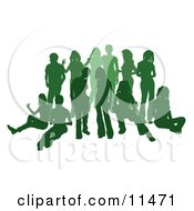 Green Group Of Silhouetted People Hanging Out In A Crowd Clipart Illustration